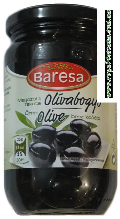 Маслины чёрные без косточки с/б Baresa мал.