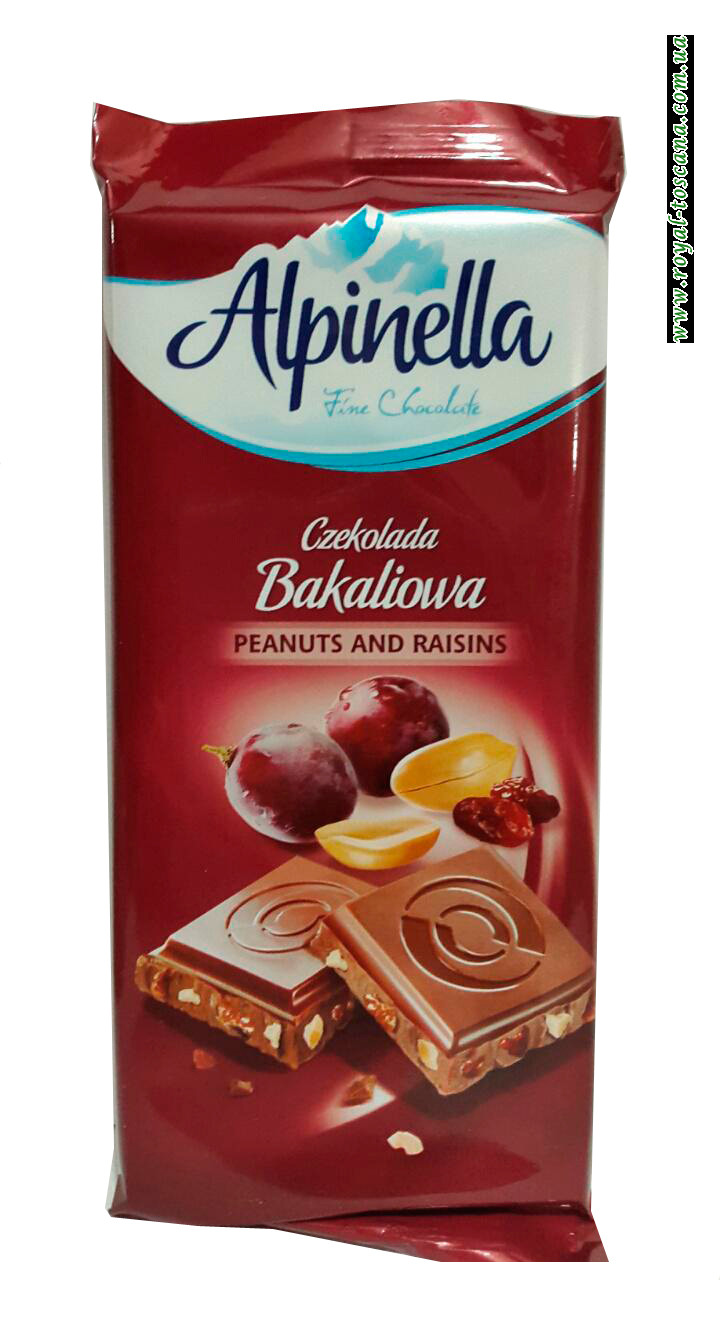 Молочный шоколад Alpinella Czekolada Peanuts and Raisins
