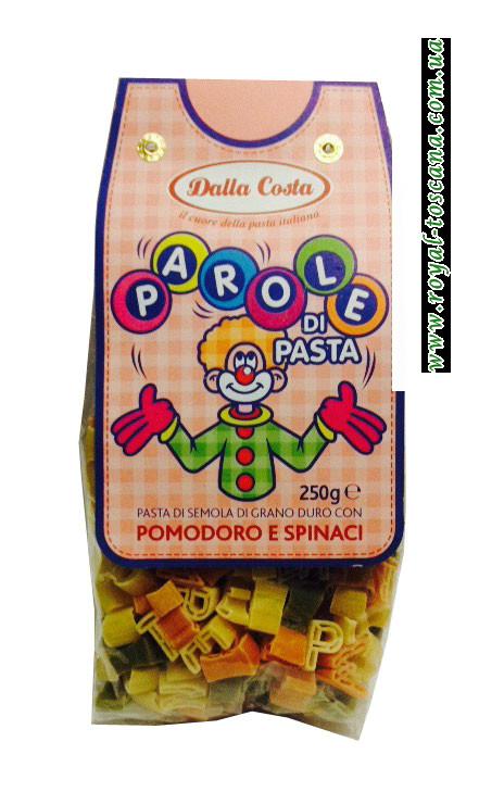 Детские макароны Dalla Costa Parole Pasta Pomodoro e Spinaci