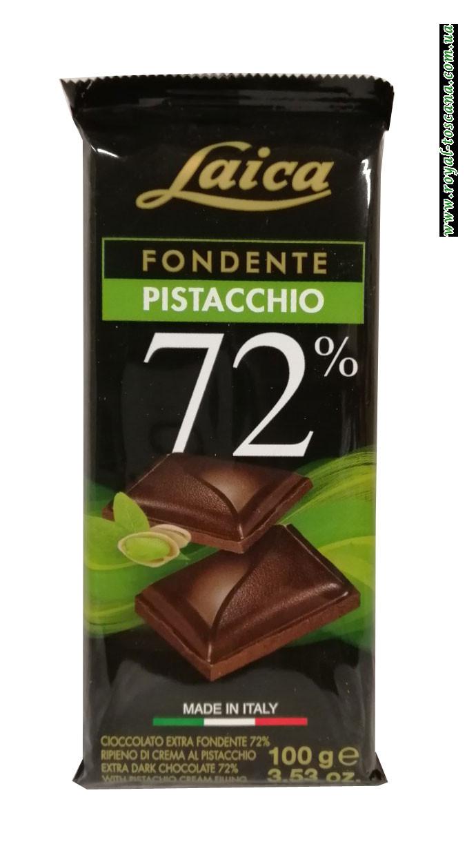 Шоколад черный с фисташками Laica Fondente Pistacchio 72%