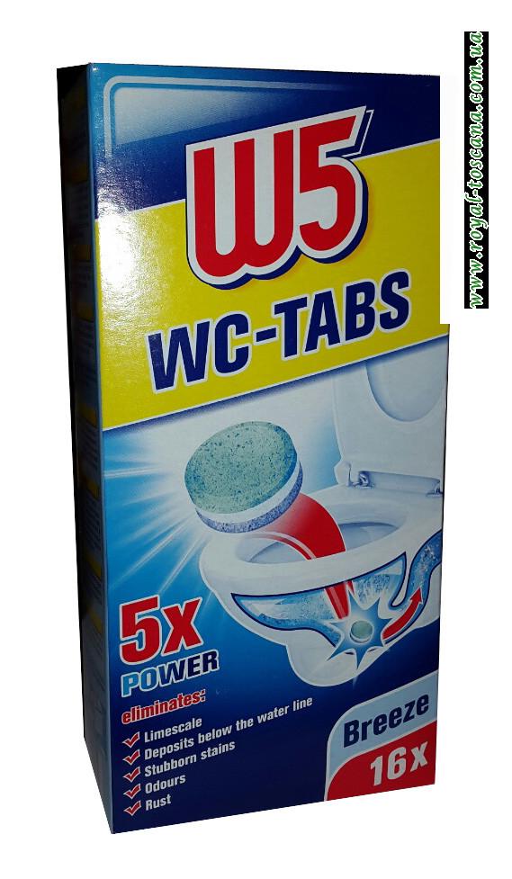 Таблетки для прочистки сливных труб унитаза W5 WC-TABS, 16x25 г