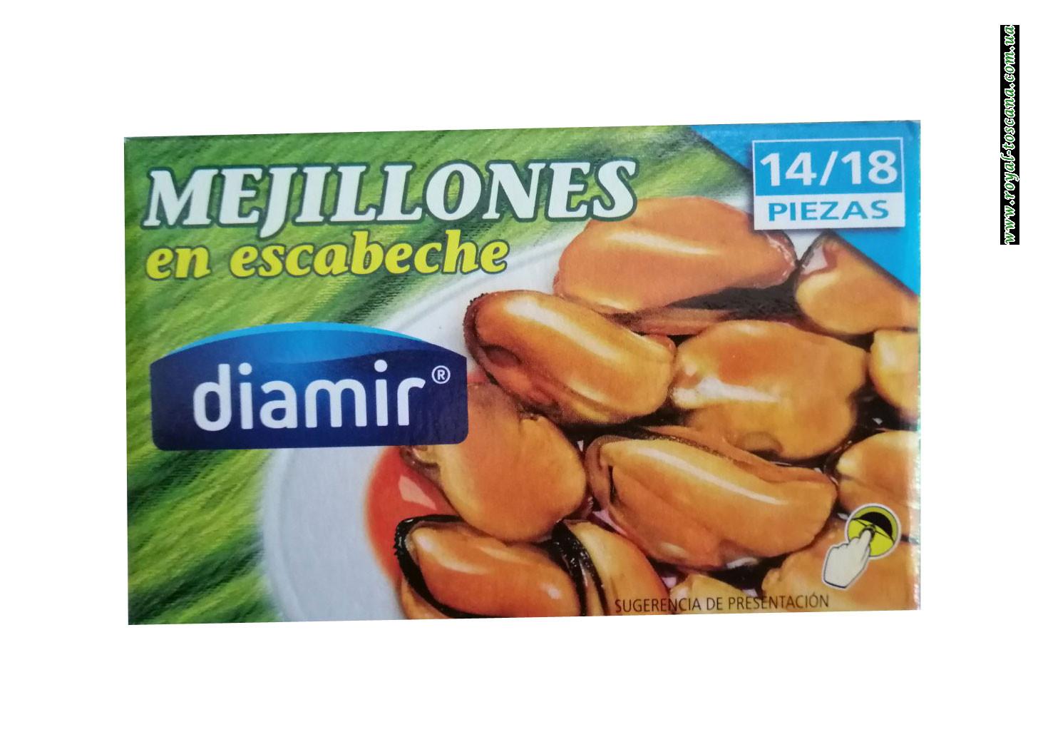 Мидии в маринаде Diamir Mejillones en escabeche 115г