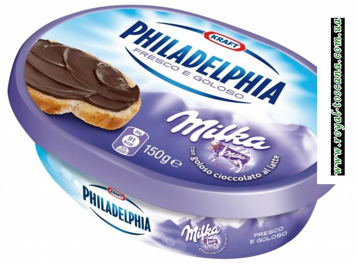 """Сыр """"Philadelphia"""" Milka con goloso cioccolato al latte"""