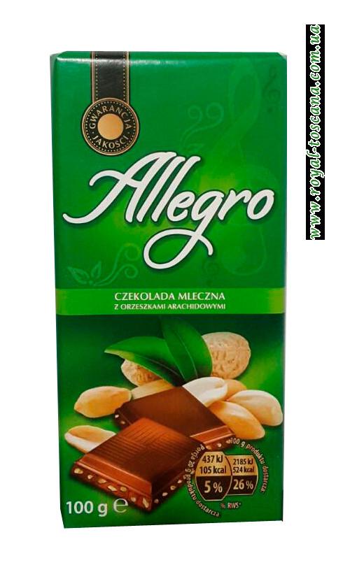 Шоколад молочный с арахисом Allegro z Orzeszkami Arachidowymi