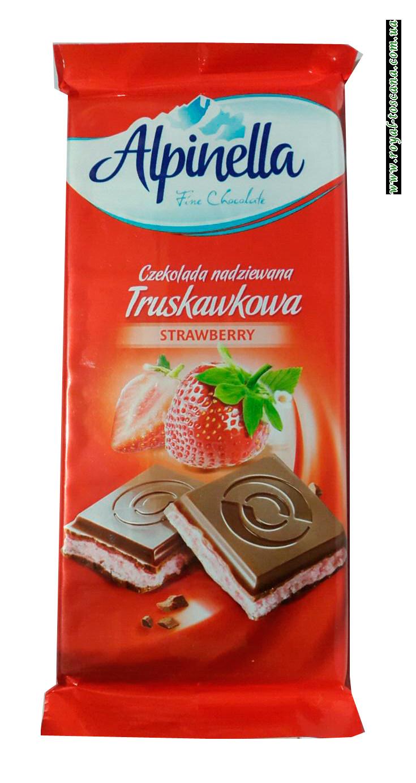 Шоколад молочный с клубничной начинкой Alpinella Strawberry