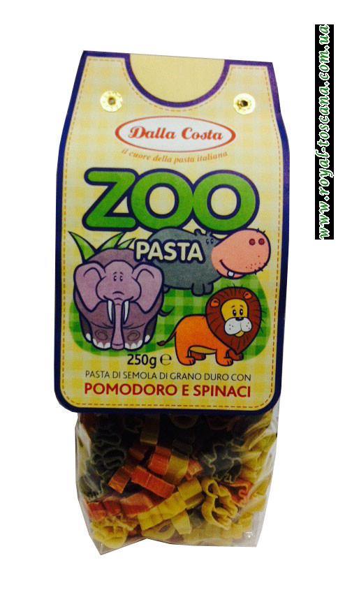Детские макароны Dalla Costa Zoo Pasta Pomodoro e Spinaci