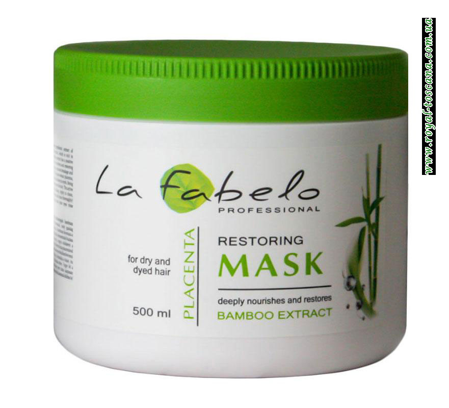 Маска для сухих и окрашенных волос с экстрактом бамбука и пшеничной плацентой La Fabelo, 500 мл