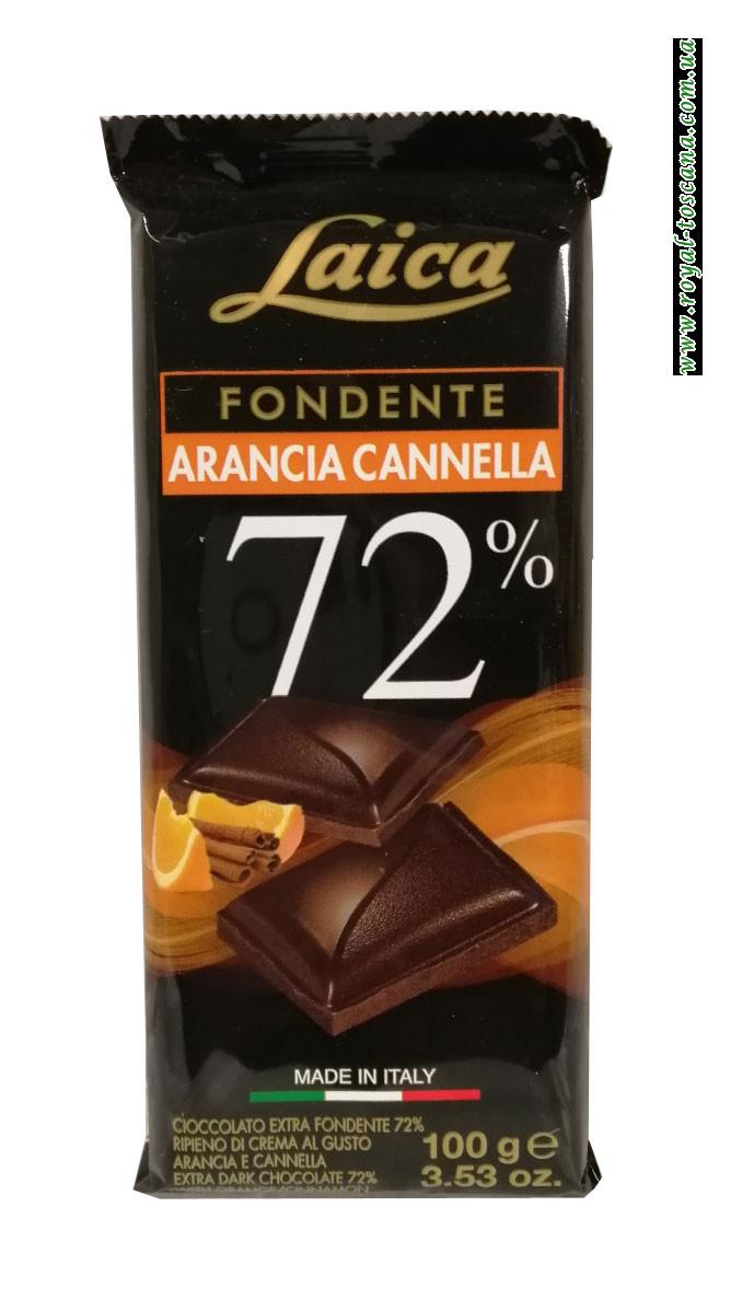 Шоколад черный с апельсином и корицей Laica Fondente Arancia Cannella 72%