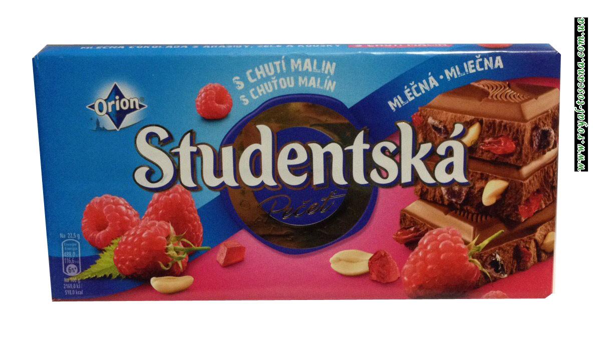 Шоколад Orion Studentska Zele a Kuskami s Chutou Malin