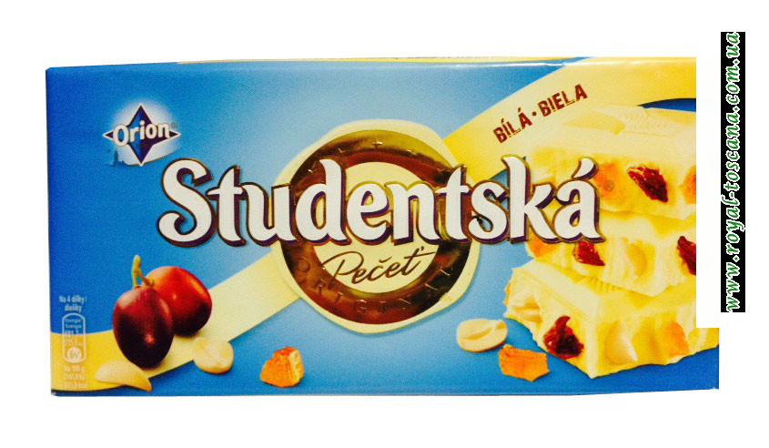 Шоколад белый Orion Studentska Zele a Rozinkami