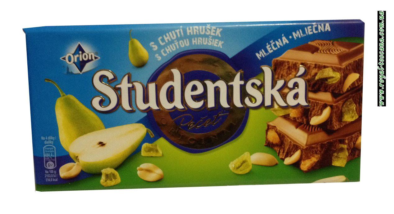Шоколад молочный с арахисом и грушей Orion Studentska Zele a Kuskami s Chutou Hrusiek