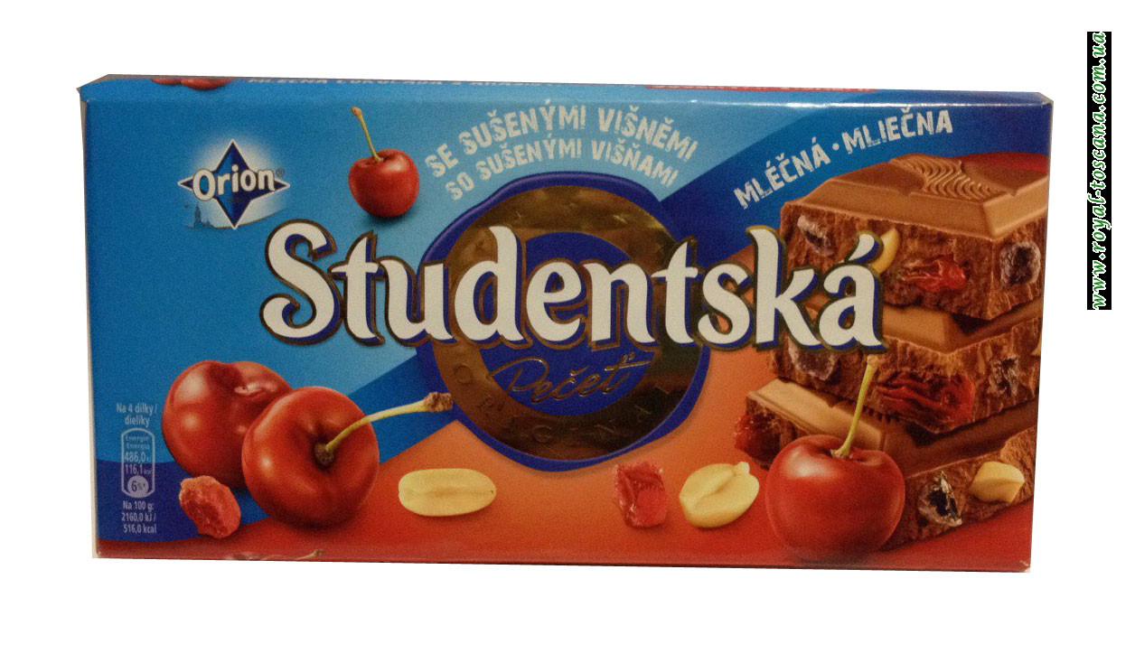 Шоколад Orion Studentska Pecet Zele a Susenymi Visnami