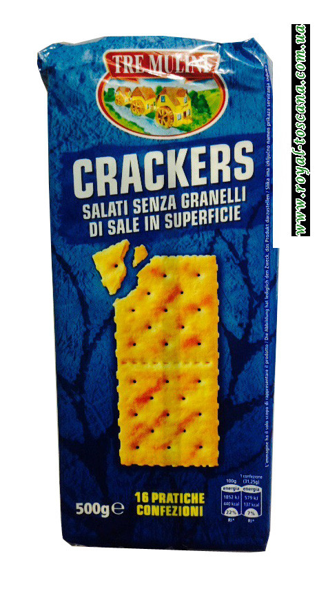 Крекер Tre Mulini Crackers Salati Senza Granelli di Sale in Superficie