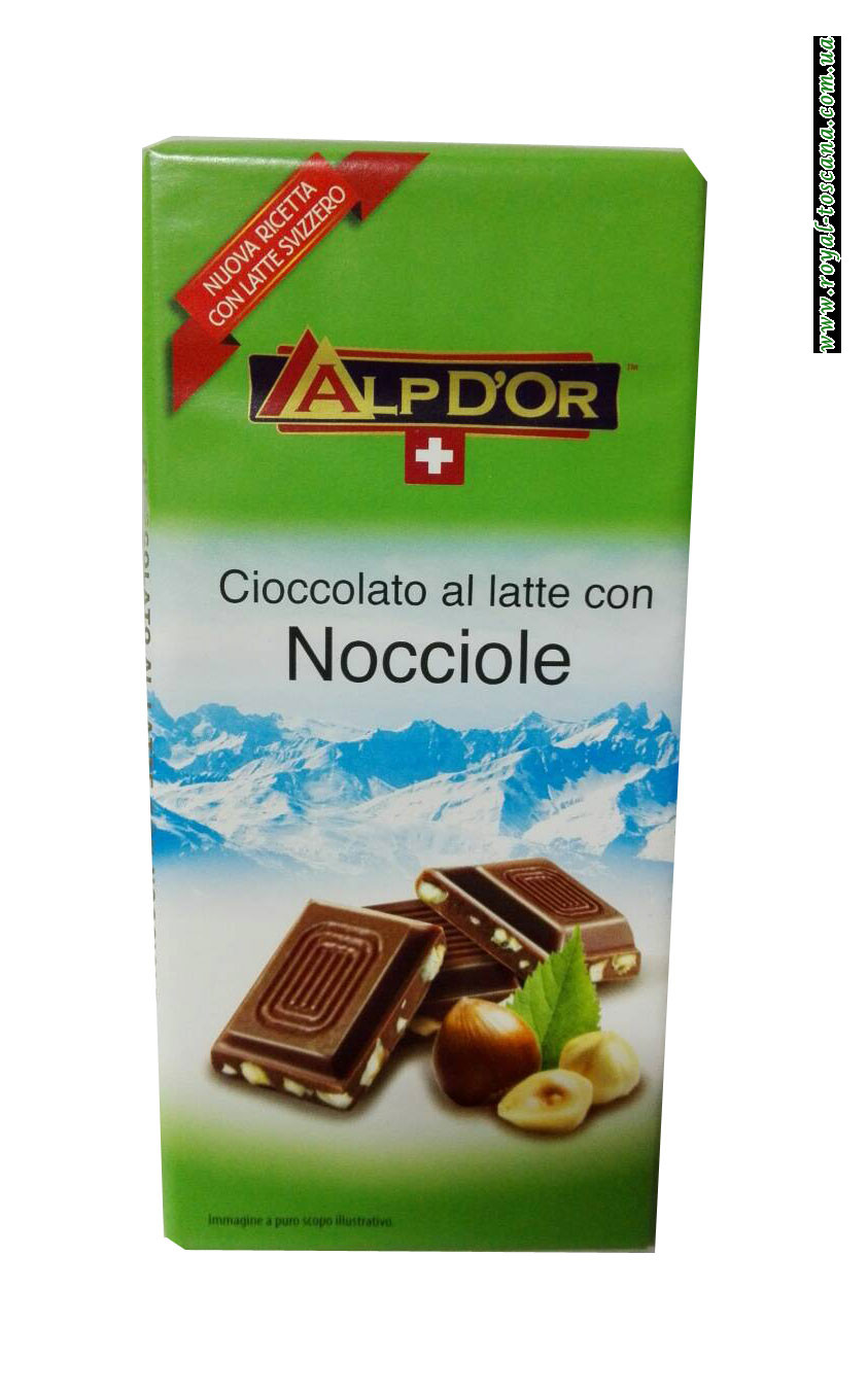 Шоколад молочный с фундуком AlpDor Cioccolato al Latte co Nocciole